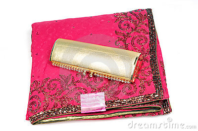 Embroided pink saree with golden purse