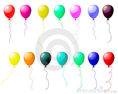 Colourful balloons set with glare