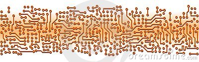 Abstract orange circuit board electronic template