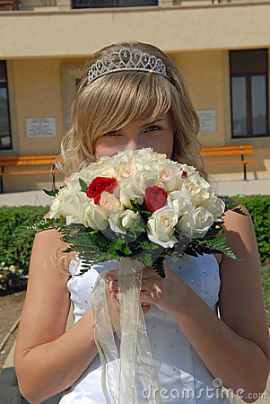 Happy Bride with the flowers