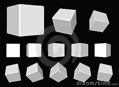White rotating cubes VECTOR