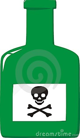 Bottle with label a skull and crossbones