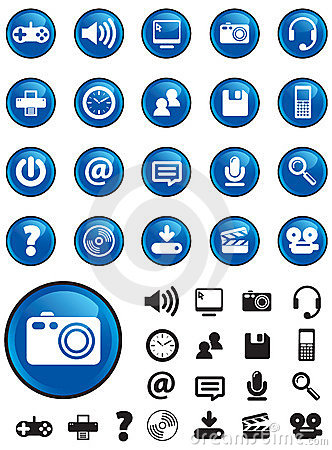 Media icons on Blue buttons