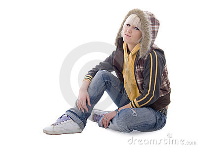 Jeans Sitting Girl in the Hood