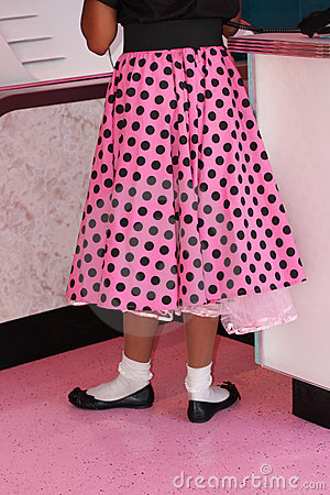 Pink polka dotted poodle skirt