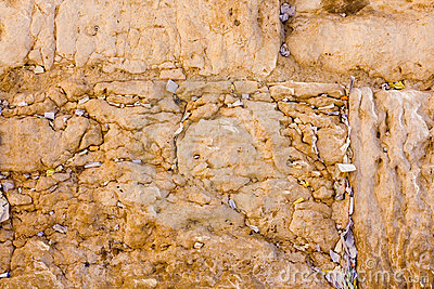 The notes in the Wailing Wall. Jerusalem, Israel