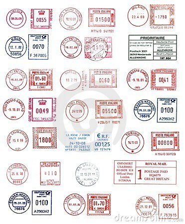 Colorful postmarks