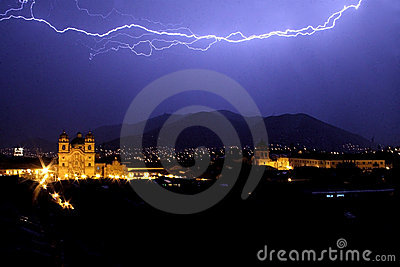 Lightning over Cuzco's main square at night