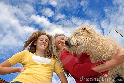 Daughter mother and pet