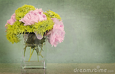 Peonies and chrysanthemums in vase