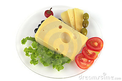 Delicatessen cheese served on dish