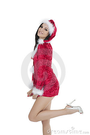 Beautiful and sexy Caucasian woman dresses as a sexy santa