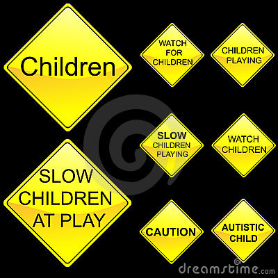 Eight Diamond Shape Yellow Road Signs Set 5