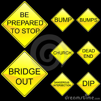 Eight Diamond Shape Yellow Road Signs Set 6