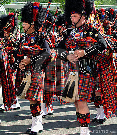 Bagpipers in a  parade