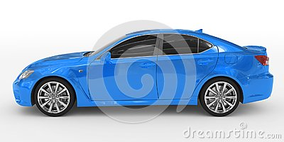 Car isolated on white - blue paint, tinted glass - left side vie