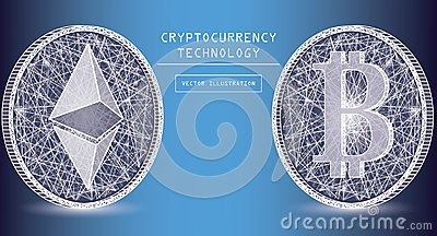 Ethereum digital currency vector icons and symbols. Crypto currency token coins