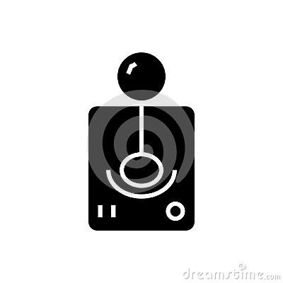 Game controler icon, vector illustration, black sign on isolated background