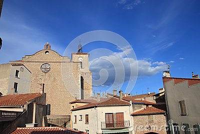 Church in french village of Thuir in Pyrenees orientales
