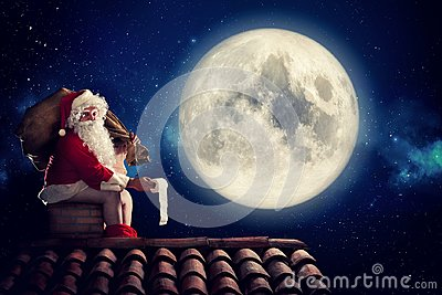 Nasty Santa Claus poop in a chimney under moonlight as bad children gift. Alternative Christmas holiday greetings post