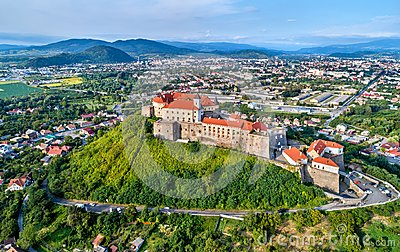 Aerial view of the Palanok Castle in Mukachevo, Ukraine