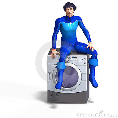 Super hero on a washing machine