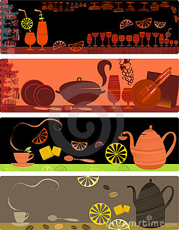 Template designs of cafe banners