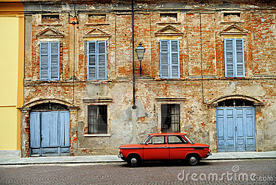 Red car on Italian street