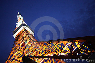 Tokyo Tower in Japan at night from below