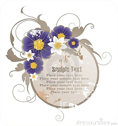 Frame for text with floral ornament