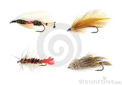 Four trout flies