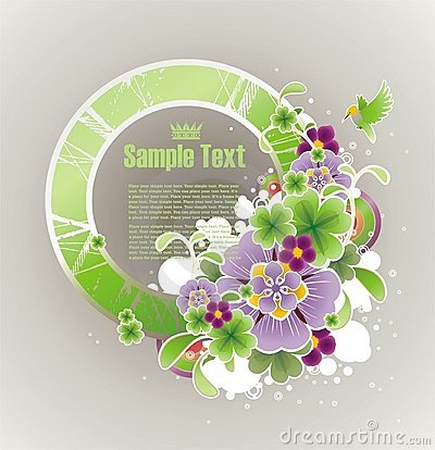 Frame for your text decorated with flowers