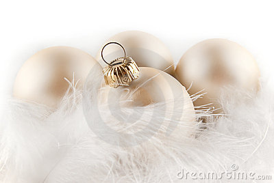 Christmas ornaments in billowy feathers