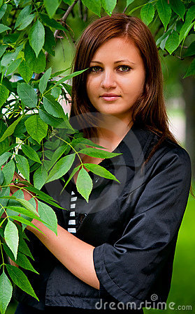 Young Woman With Leaves
