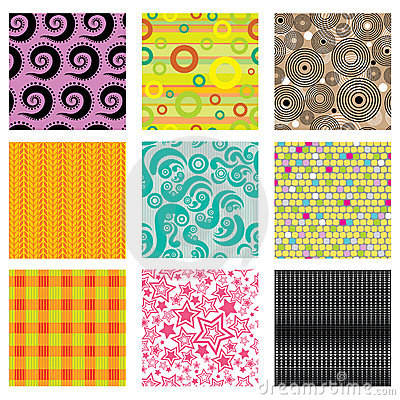 Set of bright abstract patterns