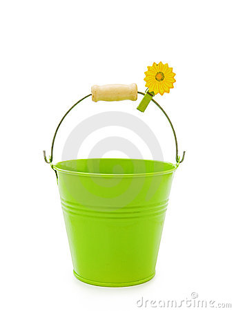 Green bucket on white
