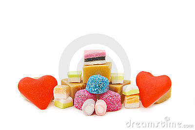 Red jelly hearts and mix of sweets