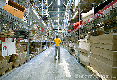 Man in storehouse