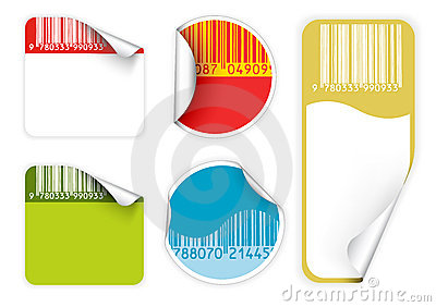 Set of fresh labels with bar codes(vivid colors)