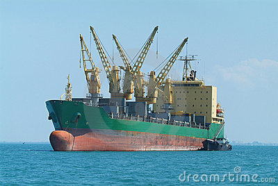 Bulk ship at anchor