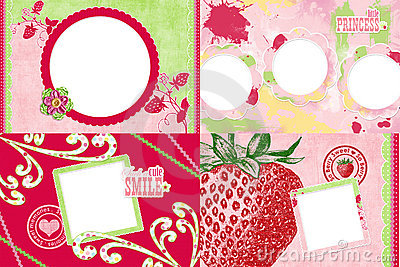 Strawberry themed photo frames