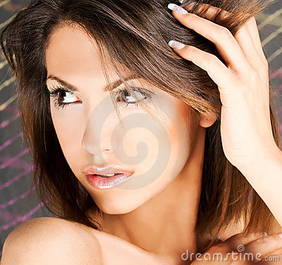 Portrait of a cute brunette with brown eyes
