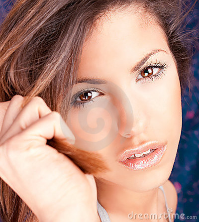 Sensual portrait of young beautiful brunette