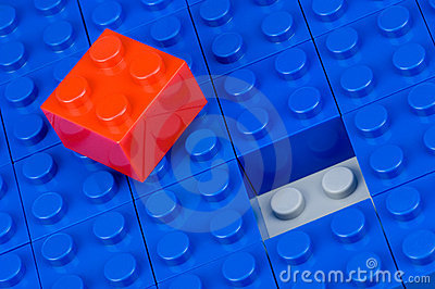 Red and blue building blocks