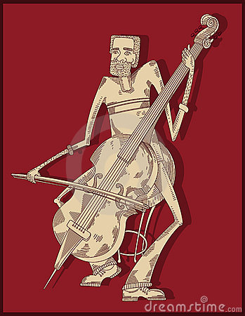 Cello player - line drawing -
