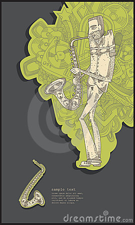 Sax player - line drawing - green
