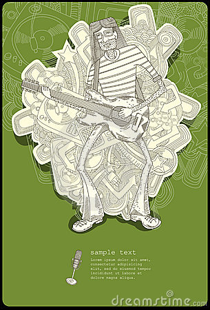 Guitar player - line drawing -