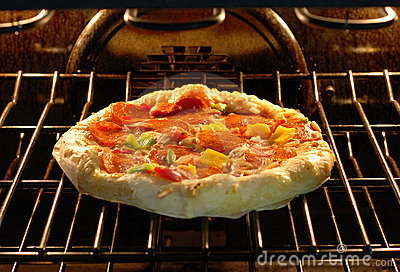Baking pizza