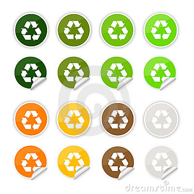 Recycle stickers , icons