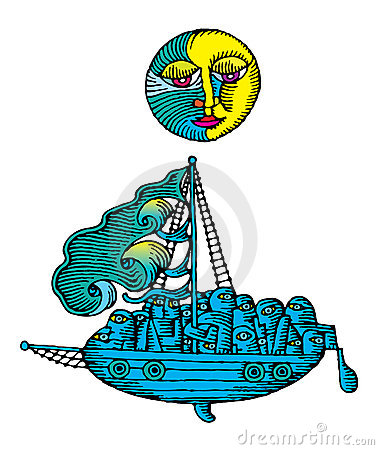 Moon over the sailing ship at night engraved color